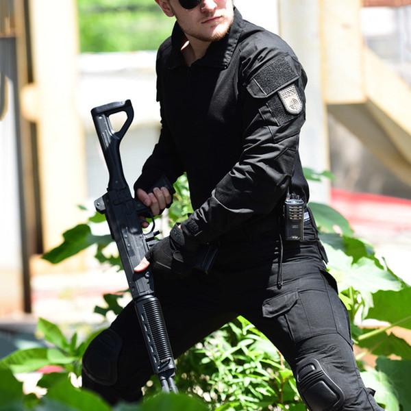 Tactique de camouflage Costume Uniforme Hommes Armée SWAT Combat Shirt + Pantalon cargo genou Pads Airsoft Vêtements de camouflage