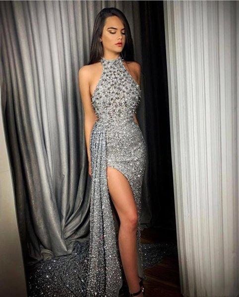2020 Luxus-Silber-wulstiger Split Promkleider Neckholder Mermaid Pailletten formal Partei-Abendkleider Robe de soriee