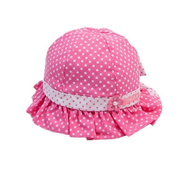Summer Toddler Baby Girl Cute Sun Polka Dot Flower Bucket Cap Bowknot Pearl