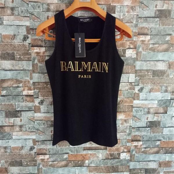 Patrón simple clásico de las mujeres chalecos de verano carta de moda sin mangas camisas femeninas High Street Lady personalidad deportiva Tops