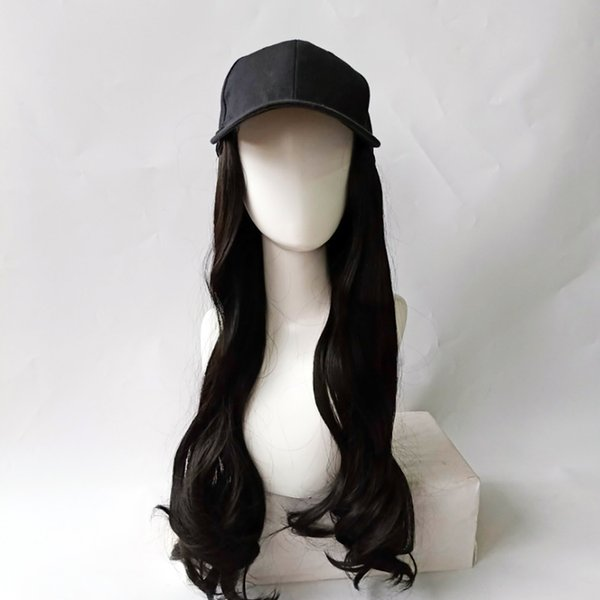 Fashion Girl One-piece Wig Baseball Cap with Nature Long Big Wave Curly Synthetic Hair