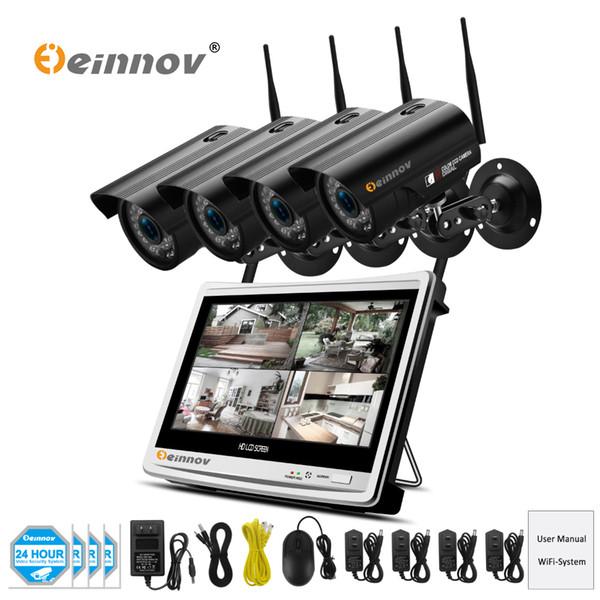 Einnov 4Ch HD Wireless Wifi CCTV Security Camera System Vedio Surveillance NVR Kit 1.3MP 12 inch LCD Monitor IR Camera ip Set