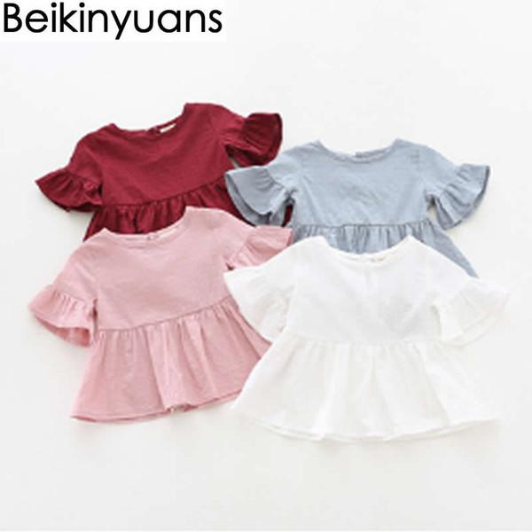 Ropa de verano para bebés Blusas Algodón Amoi Chica Camisa con volantes Camisa de manga corta Niña pequeña Muñeca Niños Estilo coreano