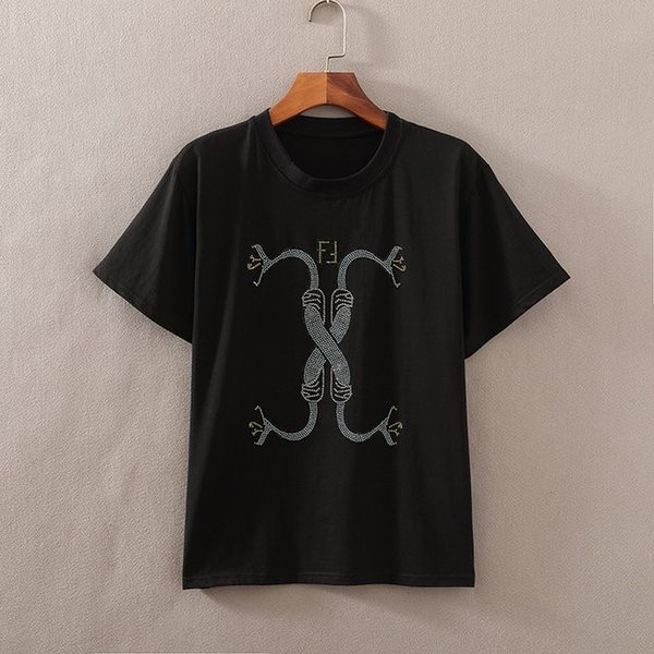 Men's t-shirt Symmetrical sequin pattern Black slim Hip hop style 2019 new shiny cool light breathable imported fabric