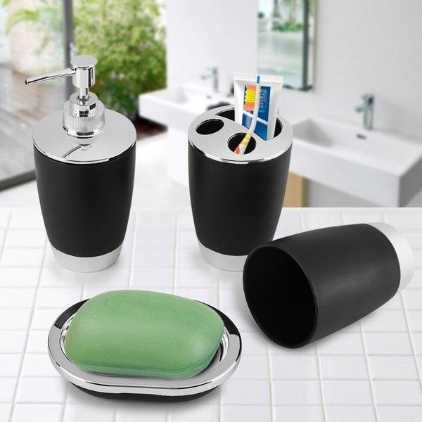 Fdit 4Pcs/Set Bathroom Suit Accessories Include Cup Toothbrush Holder Soap Dish Dispenser Shampoo Press Bottle Bath Accessories D19011701