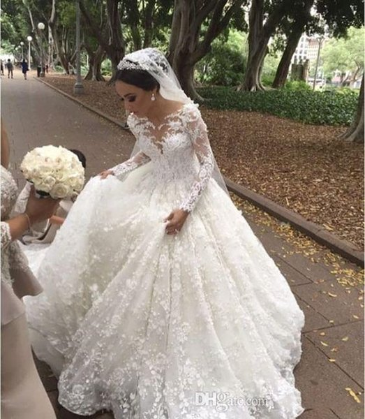 Fashion Long Sleeve Ball Gown Wedding Dresses Lace White Jewel Princess Sweep Train Wedding Gowns Bridal Dress Brautkleider Online Kaufen