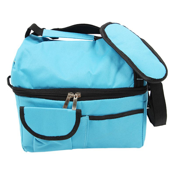 yalıtılmış soğutucu çantası öğle değişen depolama katlanabilir piknik soğutucu çanta Açık Mavi