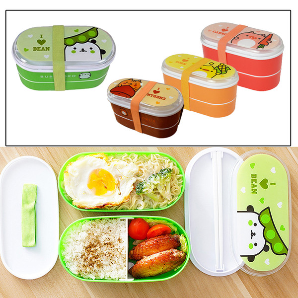 Lunch Boxes Hoomall Student Sealed Lunch Box Food Storage Containers Cute Double Layer Bento Box Dinnerware Plastic Cartoon Food Container