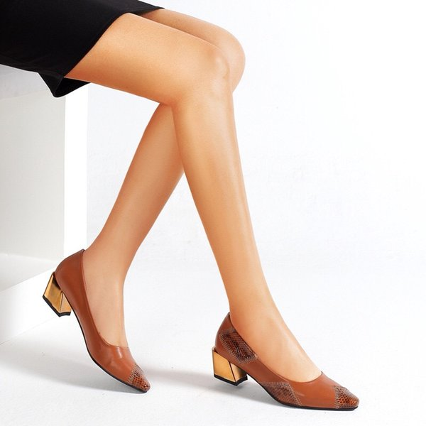 Comfort Flats Leather for Women-Low Chunky Heel Pumps Formal Pointed Toe Dress Slip On Casual Spliced Shoes Office Brown Shoes
