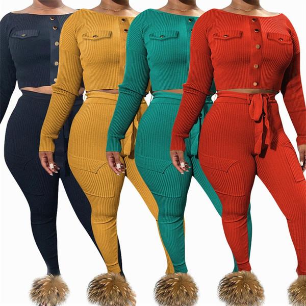 Outono e inverno mulheres de culturas tops e leggings 2 terno de mangas compridas de cor sólida Sportswear Roupa Jogging 45oyH1