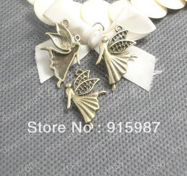 Doux Bell 200pcs / lot 29 * 18mm percer 1.2mm Vintage Bronze Ange ailes de pendentifs Bijoux Charme Pendentifs Résultats Fit Fabrication De Bijoux