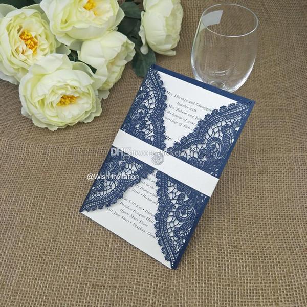Compre 2019 Elegante Laser Cut Azul Marino Invitaciones Tarjetas Con Cinturón De Color Crema Y Cristal Para Boda Compromiso Cumpleaños Diy Membrillo