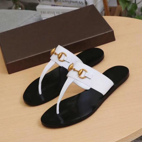 Summer Brand Designer women Flip flops Slipper Luxury Fashion Genuine Leather slides sandals Metal Chain Ladies Casual shoes EU36-EU42 w01