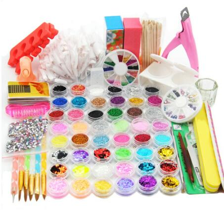 78 PCS Prego Brilho Mista Da Arte Do Prego Em Pó Kit Gel UV Manicure Set Acrílico Escova Em Pó Acrílico Nail Kit Design Para polonês