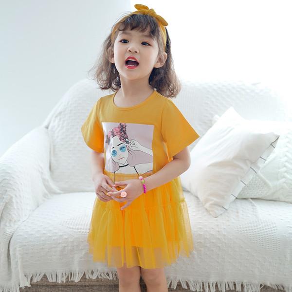 Shimiike 2019 summer new Korean version of the children's skirt fashion T-shirt mesh skirt Print short-sleeved girls dress