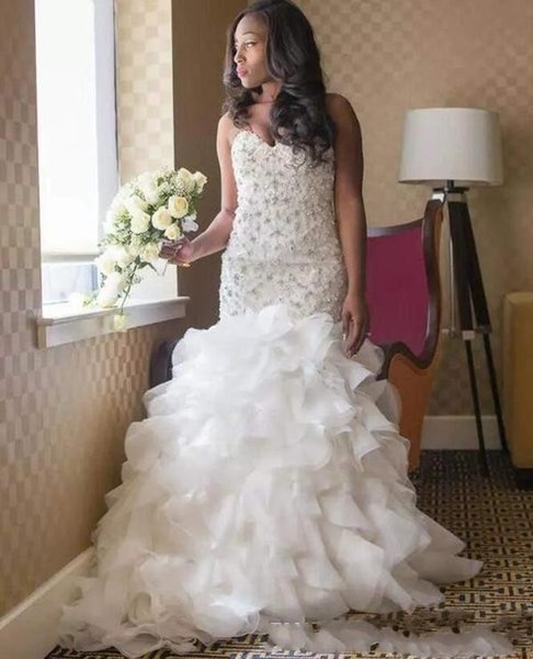 dec7e0d4e 2018 Luxo Nova Africano Sereia Vestidos de Casamento Querida Rendas  Apliques De Cristal Frisado Babados Organza Em Camadas Plus Size Vestido De  Noiva Formal