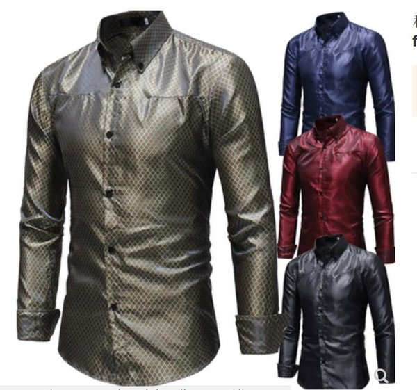 2019 brand new fashion M-3XL Men's flannel plaid shirts Men's long-sleeved shirt with rhombic singer Hair Stylist Stage costume Nightclub
