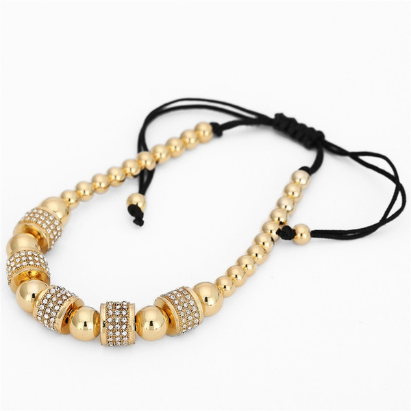 Fashion Gold Full Cz Charm Anil Arjandas Bracelet Micro Pave Setting Czech Braiding Men Women Macrame Bead Bracelet