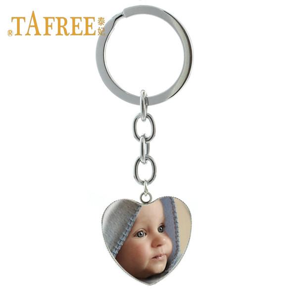 TAFREE Personalized Custom heart Keychain Photo Of Your Mum Dad Baby Children Grandpa Parents Custom designed Photo Jewelry NA01