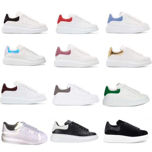 Yendi Tasarımcı Ayakkabı eğitmenler Yansıtıcı 3 M beyaz Deri Platformu Sneakers Bayan Erkek Düz Rahat Parti Düğün Ayakkabı Süet Spor Sneakers