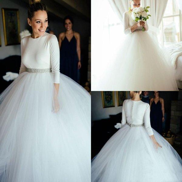 2020 Простой бальное платье свадебное платье с длинным рукавом Jewel Шея Бисероплетение Sash развертки поезд Часовня Страна Свадебные платья плюс размер Платье-де-Novia