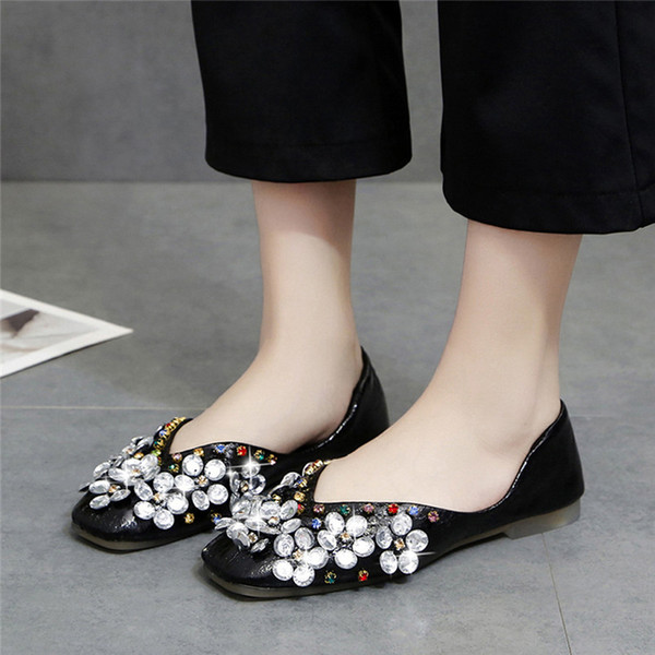Woman Elegant Crystal Flats Ballet Shoes Spring 2019 Luxury Female Loafer Shoes Rhinestone Casual Flat Lady Flats for Woman #40