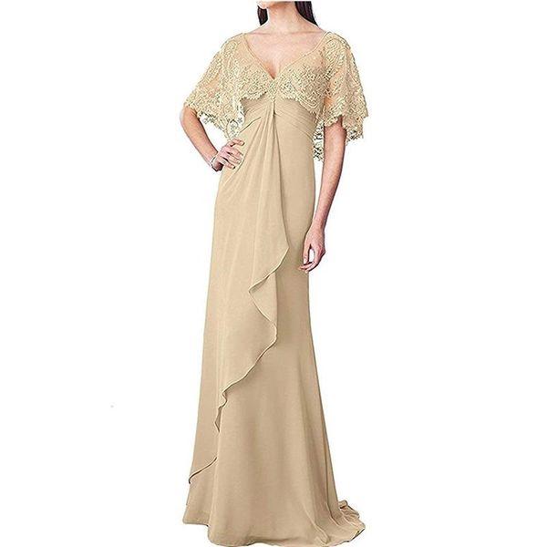 2019 charmante Chiffon-Mantel lange Mutter der Braut Kleider mit Spitzen flattern Ärmel elegante lange Mutter Kleid Abend formelle Kleider