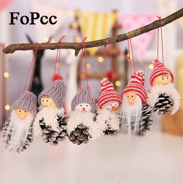 2018 New Santa Claus Christmas Hanging Ornaments Pine Cone Xmas Doll Gift 3Pcs/Sets Tree Pendant Christmas Decorations For Home