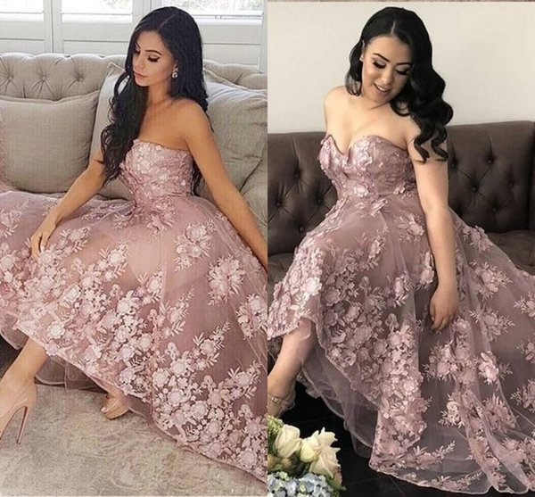 Blush Pink Lace Plus Size Party Prom Dresses High Low Strapless Backless Dresses Evening Wear Special Occasion Dress For Girls Formal Gowns