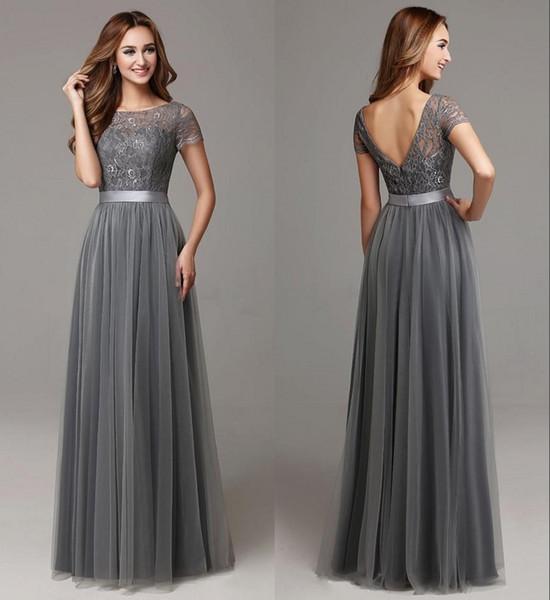 Grey Lace Tulle Floor Length Women Bridesmaid Dresses Short Sleeves Sheer Neckline Formal Wedding Long Party Dresses