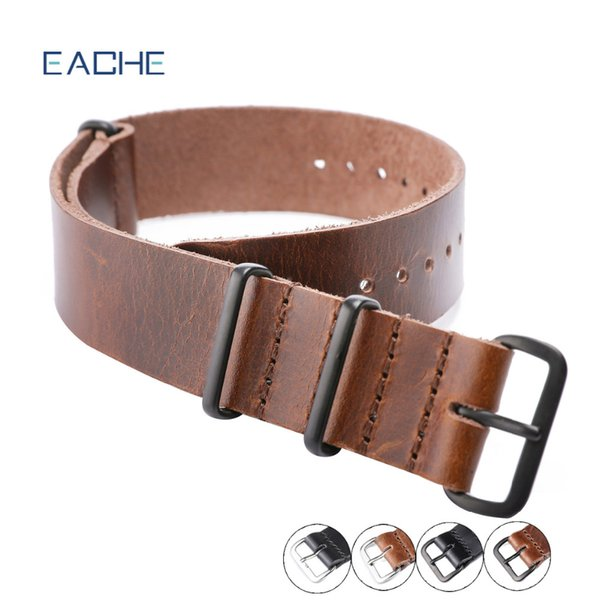 atches Accessories Watchbands EACHE Nato Genuine Leather Watch Straps Long Strap 270 Dark Brown Black 20mm 22mm Watch Band Silver&Black B...
