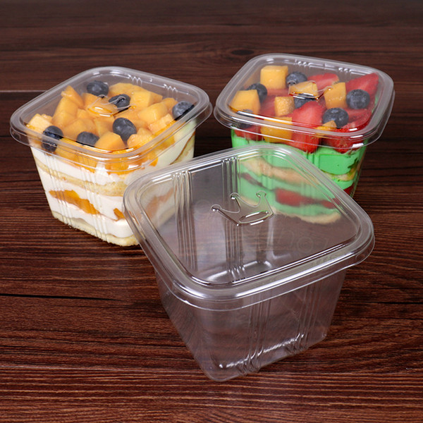 Ясно торт коробка прозрачный квадратный мусс пластиковые кекс коробки с крышкой йогурт пудинг свадьба поставки упаковочная коробка FFA3160