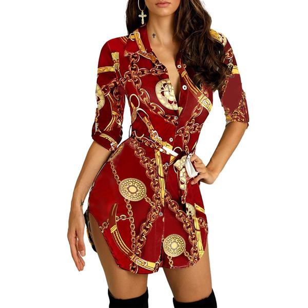 Womens Shirt Dress Sale Casual Long Sleeve Elegant Chain Print Slim Mini Dress
