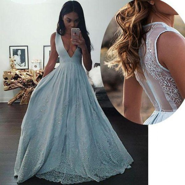 Robes de Soiree Blue Lace Prom Dresses Long Cheap A Line Deep V Neck Beaded Applique Formal Evening Gowns vestidos de fiesta