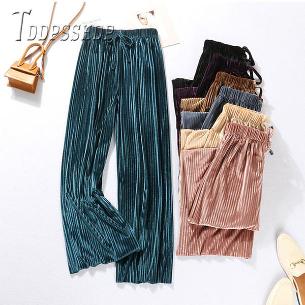 Pleated Wide Leg Women Pants 2019 Spring Summer New Chiffon Casual Plus Size Female Trousers