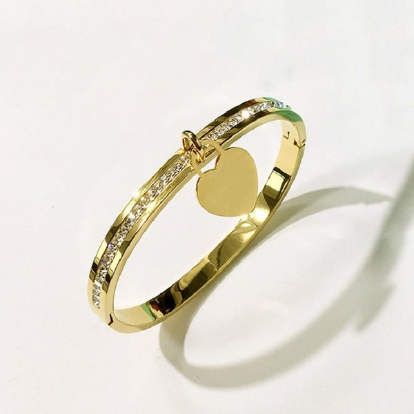 Amour coeur bracelet bracelets titane en acier inoxydable fermoir Bracelet pour les femmes strass bijoux cadeaux pour le mariage fête des mères