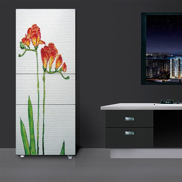 Fridge Wrap /Two Flowers Painting/Removable Self Adhesive Vinyl /Peel and Stick Decal Wallpaper