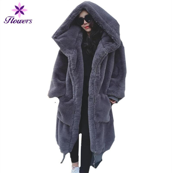 New Winter Faux Fur Coat Women Clothes High Quality Plus Size Thicken Rex Rabbit Fur Loose Noble Luxury Warm Coat Women