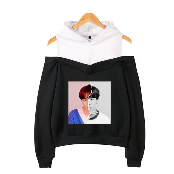 WEJNXIN Kpop BTS Photo Printed Hoodies Women Sexy Off-Shoulder Long Sleeve Sweatshirt Love Yourself Album Hooded Sudadera Mujer