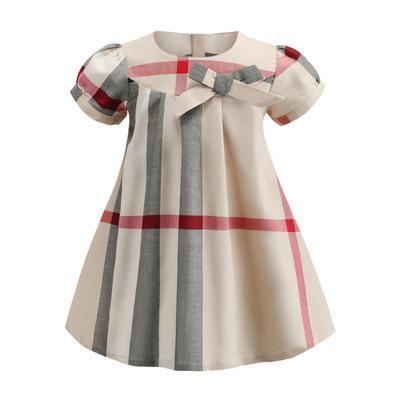 2019 NOVO Muito popular meninas vestido de manga curta padrão xadrez designer de verão estilo coreano avental crianças roupas vestido A93746