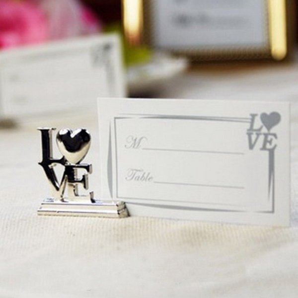 LOVE Metal Place Card Holder with Matching Place Card Silver Seat Clip Wedding Favor Party Gift DHL Free Shipping