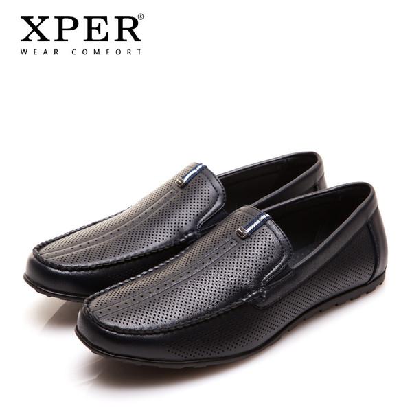 2017 XPER Markalar Moda Erkekler Flats Erkekler Casual Ayakkabı Slip-on Siyah Mavi Loafer'lar Nefes Comfor Büyük Boy YWD86130BU / BL
