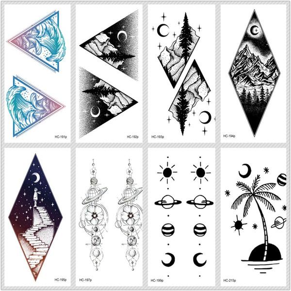 Rocooart Moon Mountain Adesivi per tatuaggi temporanei Ecologia Tatuaggio finto Pianeta Tatuajes Oceano Taty Albero di cocco Tatouage impermeabile