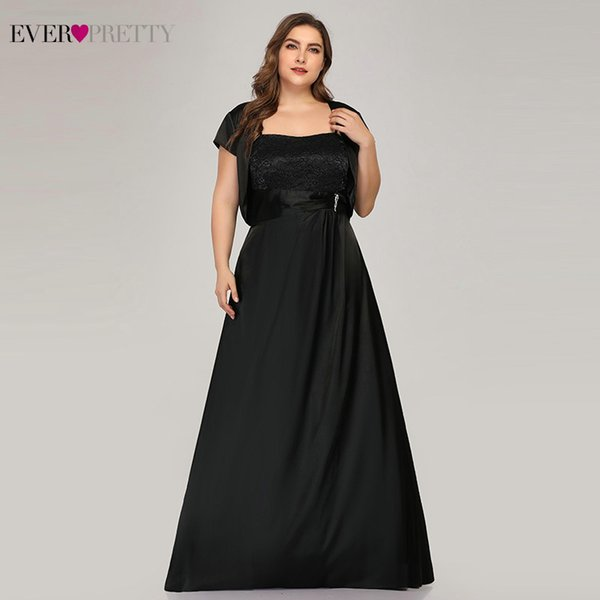 Плюс Размер Черные Вечерние Платья Длинные Вечерние Довольно Квадратный Воротник A-Line С Пиджаком Элегантное Атласное Вечернее Платье Robe De Soiree