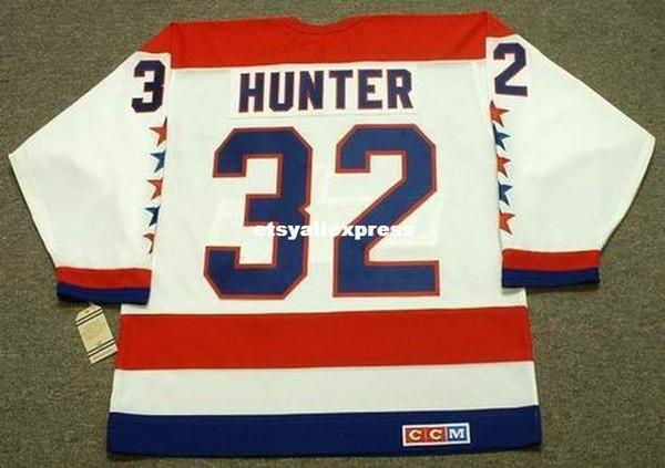 personalizzato Mens DALE HUNTER Washington Capitals 1990 CCM maglie Vintage Home Cheap Retro Hockey Jersey