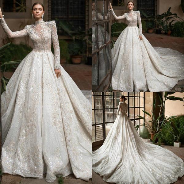 2020 larga magnífica mangas una línea real de boda del tren vestidos de alta Árabe cordón del cuello de lentejuelas apliques vestidos de boda para la primavera