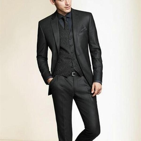 NoEnName_Null 2017 Hot Sale Bespoke Men Suits Classic Slim Fit Black Wedding Dress Groom Tuxedos 3 Piece Men Wedding Prom Suit #556090