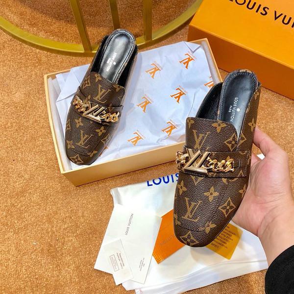 Designer de luxe femmes sandales impression de mode en cuir demi pantoufle superstar plate chaussures de sport chaussures de ville de haute qualité