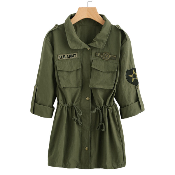 Großhandel Denim Kordelzug Ärmel Oberbekleidung Grün Jacken Und Damen Mäntel Von Newedd43 Auf Taille Aufnäher Einreiher 22 Dienstjacke n0Ovm8Nw