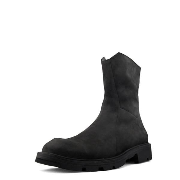 Fashion Back Zip Men Boots Leather Shoes Men High Top Sneakers Punk Style Platform Ankle Boots Cool Black Winter